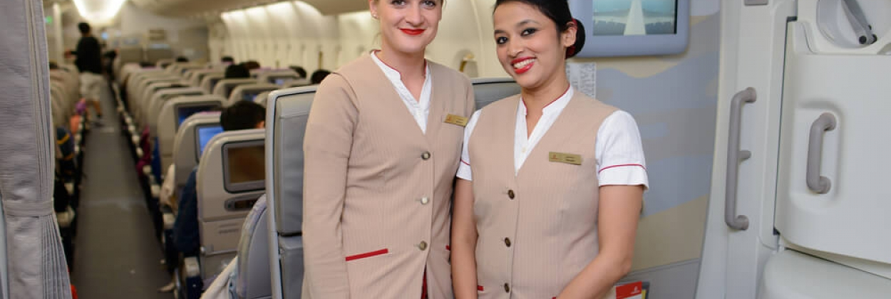 Emirates flight attendants on board the Airbus A380