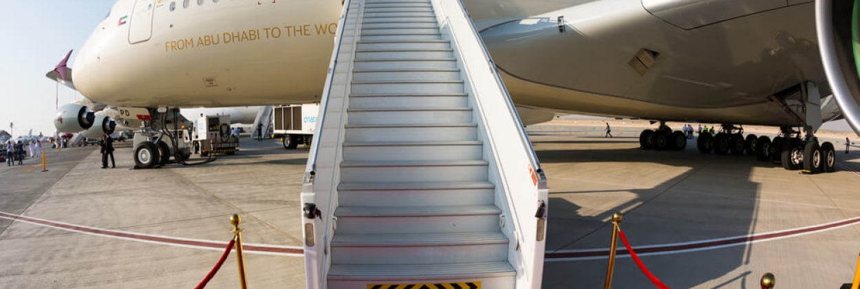 Etihad Airways Airbus A380 with a red carpet entrance
