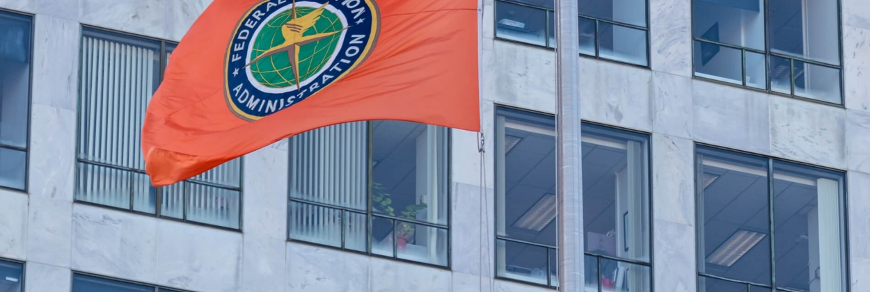 FAA flag in front of its headquarters in Washington DC, United St
