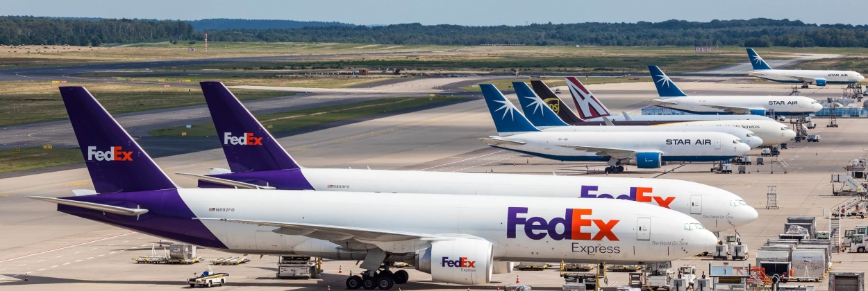 FedEx Express aircraft in Europe, in Cologne Bonn Airport in Germ