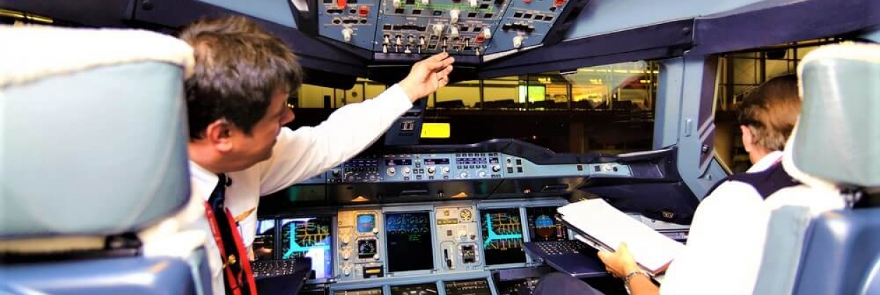 Flight crew in Emirates Airbus A380 aircraft after landing