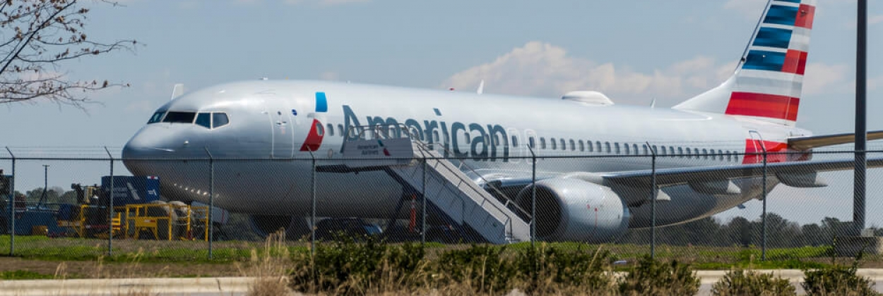 Grounded American Airlines Boeing 737 MAX at Raleigh Durham Inter