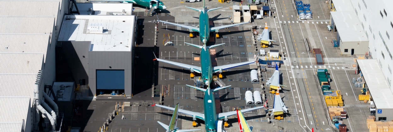 Grounded Boeing 737 MAX aircraft outside the Boeing Renton factor