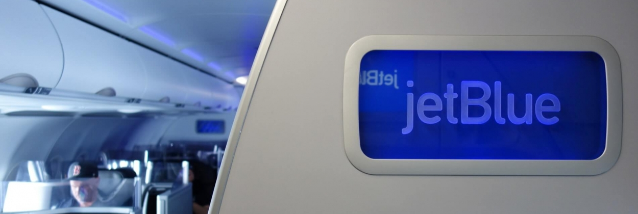 JetBlue logo upon boarding the aircraft