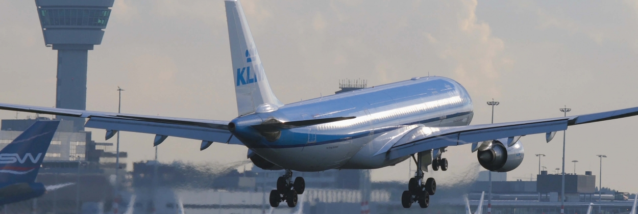 KLM Airlines Airbus A330 landing at Schiphol airport in Amsterdam