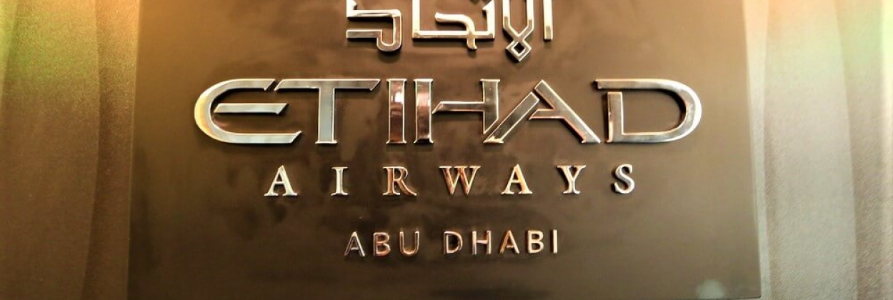 Logo of Etihad Airways featured inside its aircraft. Etihad Airwa