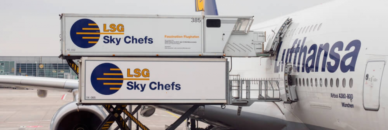 lsg sky chefs loading food onto lufthansa airbus a380 at frankfurt international airport