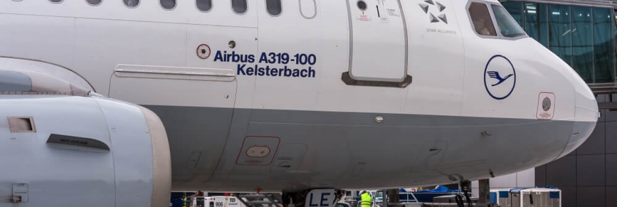 lufthansa airbus a319 at krakow international airport krk refueled before take off