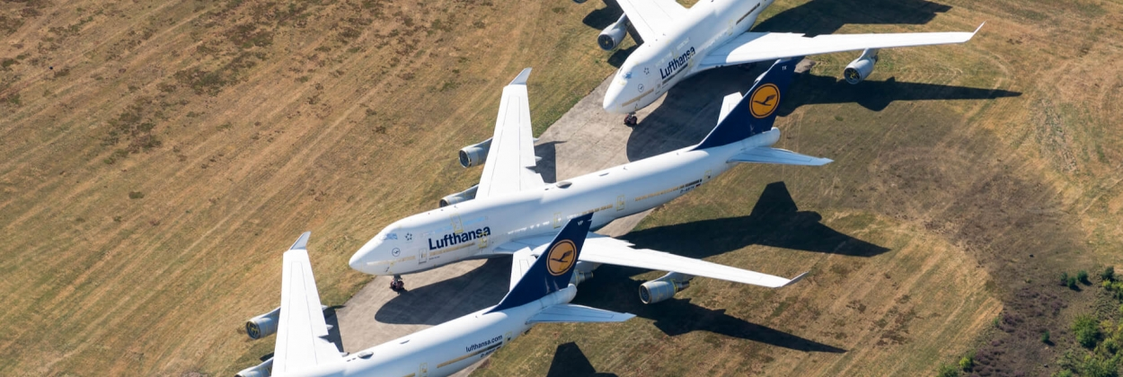 Lufthansa Boeing 747-400 aircraft stored at Twente Airport ENS