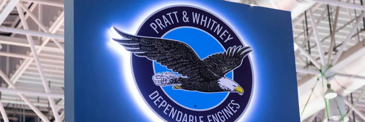 pratt and whitney sign at aerospace exhibition aerotime