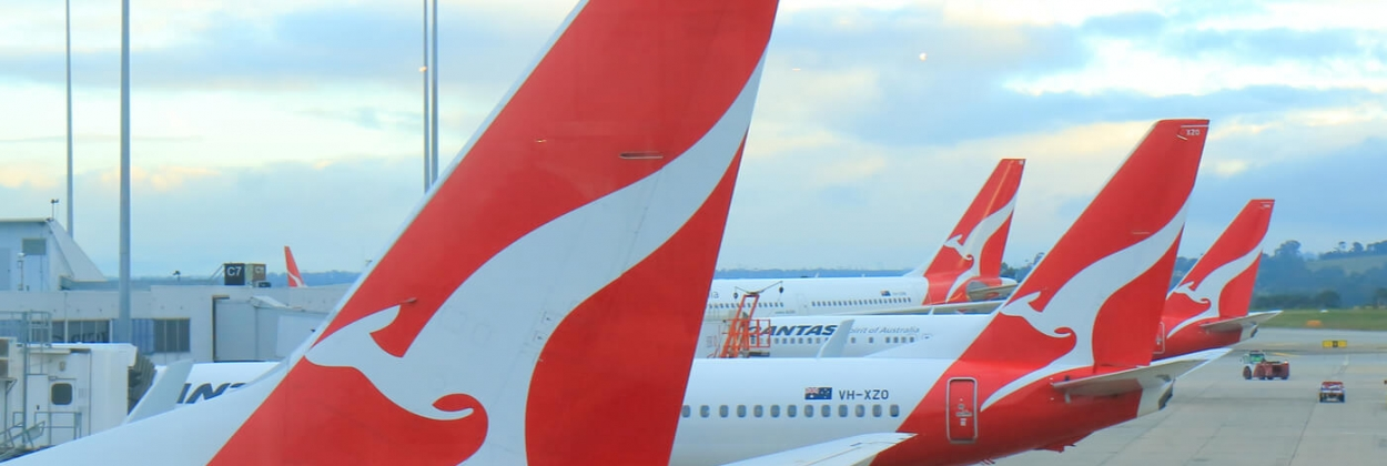 Qantas airplanes wait for departure at Melbourne Airport aerotime