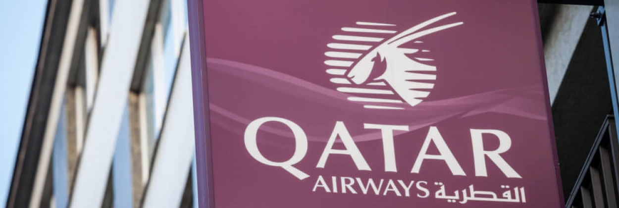 Qatar Airways logo outside their offices in Vienna, Austria