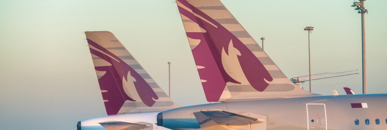 Qatar Airways aircraft parked at Doha International Airport DIA