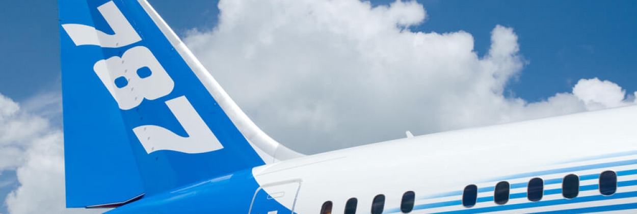 Rear detail of Boeing 787 Dreamliner at Singapore Airshow in Sing
