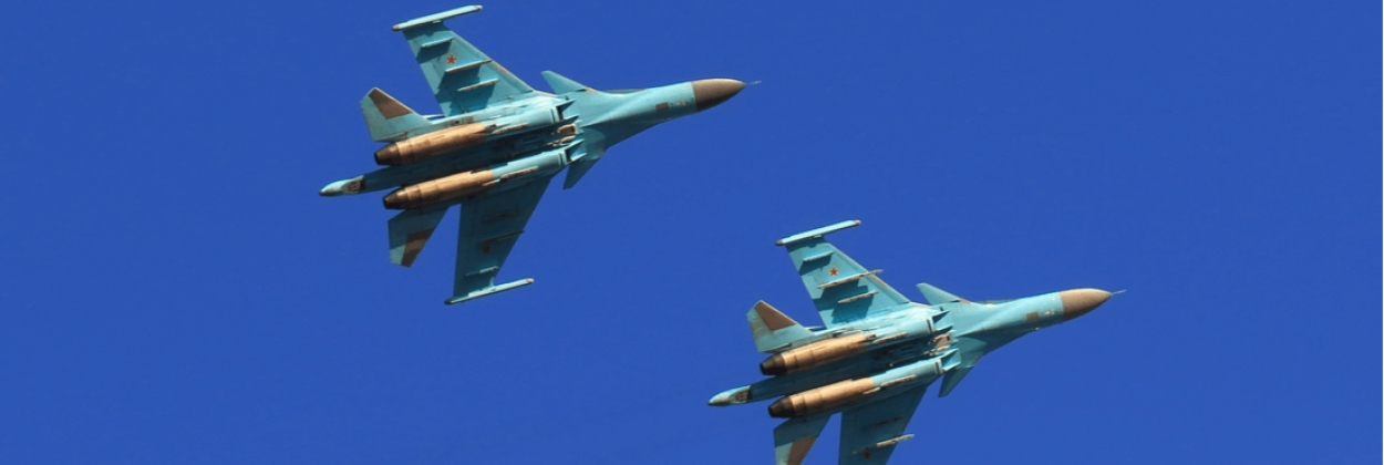 Two Su-34 fighter-bombers collide, one plane loses a wing