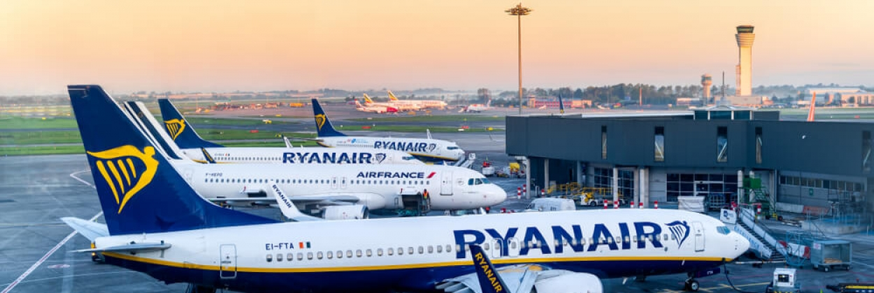 Ryanair aircraft parked at Dublin Airport DUB