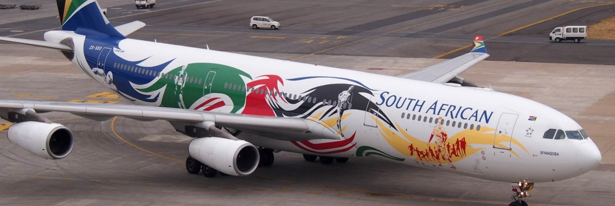 SAA Airbus A340 with Olympic scheme