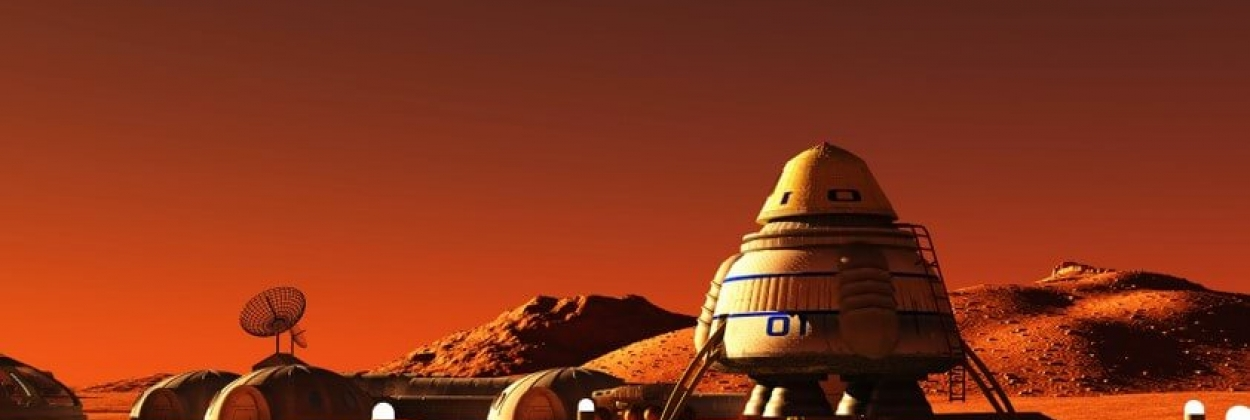 Illustration of a space base on Mars