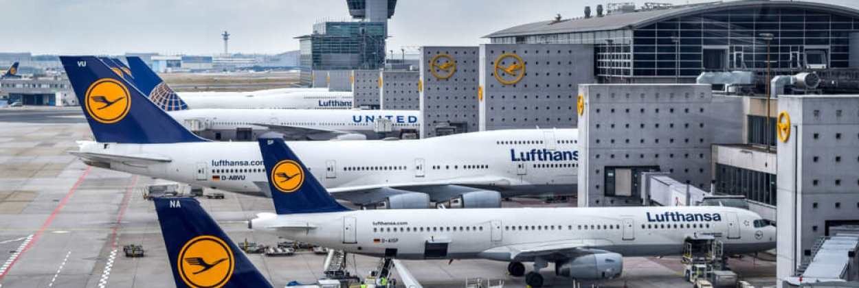 Aerial view of Lufthansa aircraft parked at Frankfurt Airport (FRA)