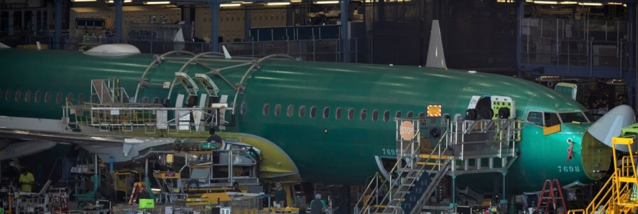Partially built Boeing 737 MAX airliner inside the Renton factory