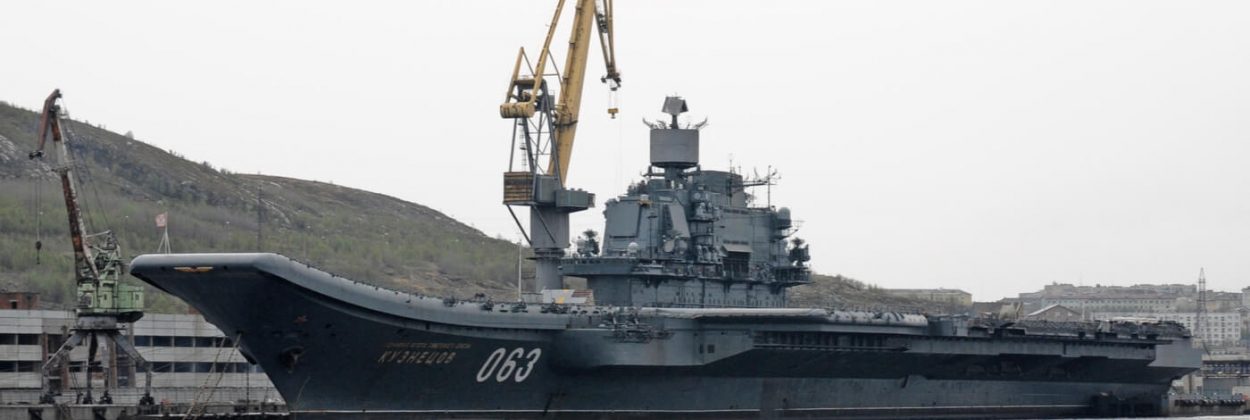 Russia's only aircraft carrier Admiral Kuznetsov on fire