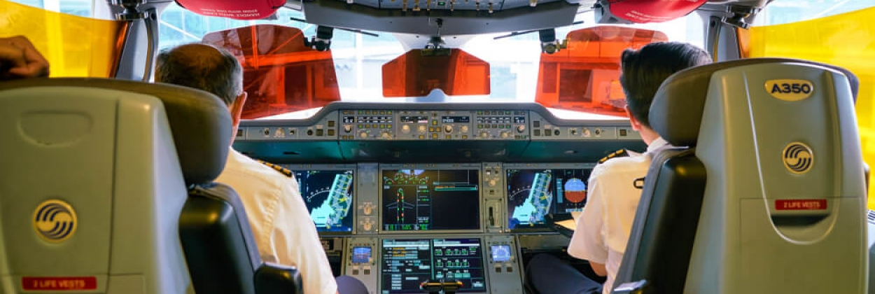 Singapore Airlines Airbus A350 Cockpit with pilots parked in Sing