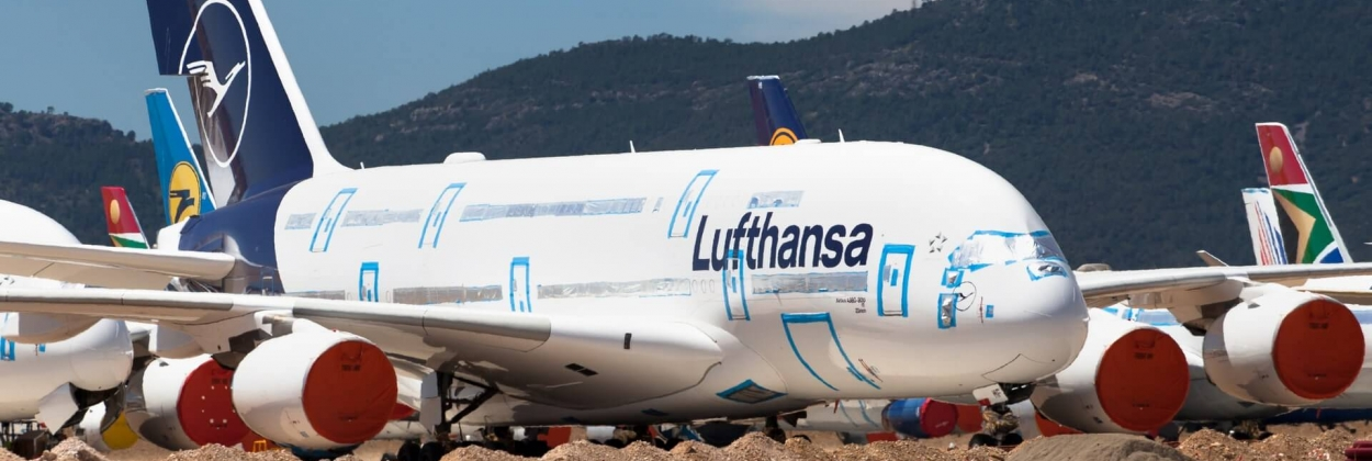 Stored Lufthansa Airbus A380 at Teruel Airport TEV