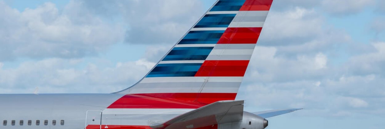 tail of american airlines boeing 767 at manchester airport