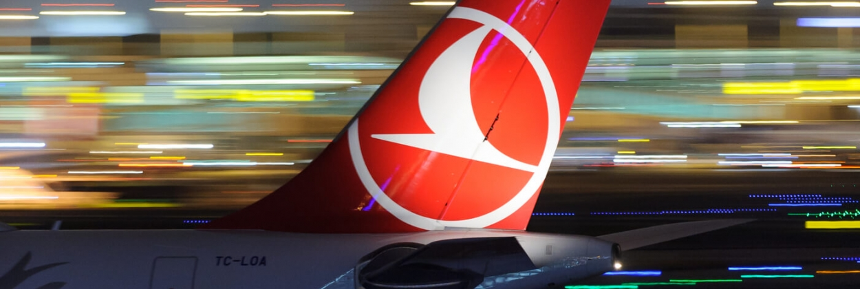 Turkish Airlines A330 tail night in Istanbul airport aerotime
