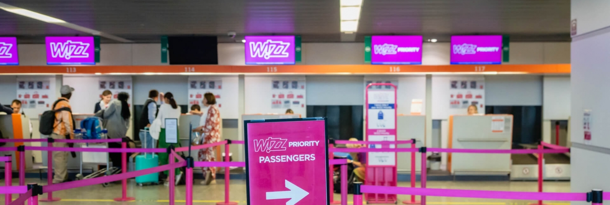 Wizz Air check in point at Warsaw International Airport WAW