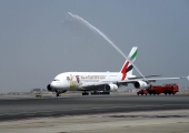 Emirates celebrates launch of world's shortest Airbus A380 flight