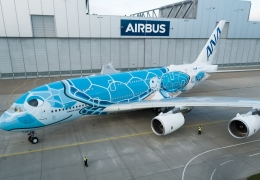 Sixteen shades of blue: ANA unveils Japan's first A380