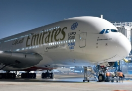 Emirates Airbus A380 in Dubai Expo 2020 livery at Milan Malpensa