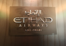 Etihad Airways logo inside its aircraft