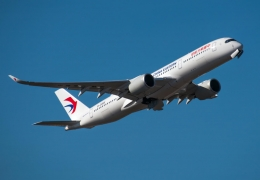 China Eastern Airlines Airbus A350XWB taking off in Shanghai
