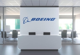 Logo of the Boeing company on a wall in the modern office, editor