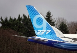 The tail section of the brand-new Boeing 777X aerotime news