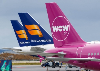 WOW Air and Icelandair Airbus Boeing airplane tails at Reykjavik