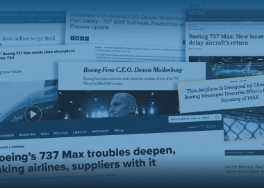 News headlines about Boeing 737 MAX grounding drama