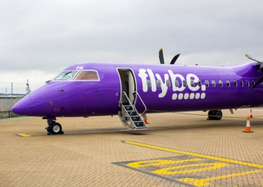 A parked Flybe De Havilland Canada DHC Q400 Dash 8 at Southampton City Airport