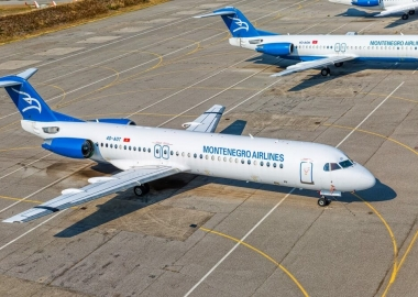 Aerial view of the Montenegro airlines airplanes Fokker 100 at th