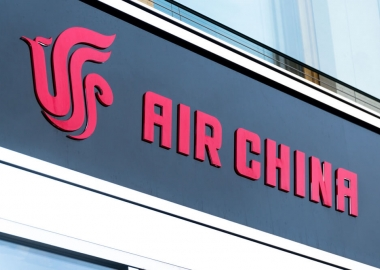 Air China logo at its offices in Berlin, Germany