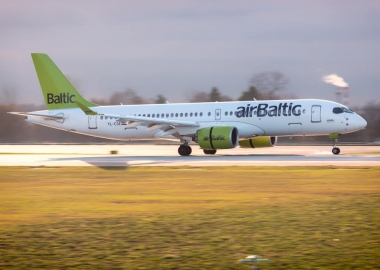 airBaltic Airbus A220-300 YL-CSE landing at Moscow Sheremetyevo I
