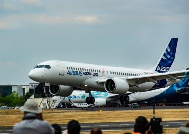 Airbus A220-300 demonstrating its capabilities during Farnborough