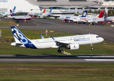 Airbus A320neo landing after its test flight in Toulouse Blagnac
