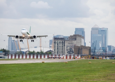 Alitalia Embraer E190 taking off from London City Airport LCY