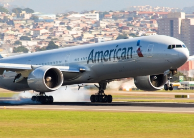 American Airlines Boeing 777 landing at Sao Paulo, Brazil