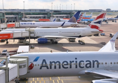 American Airlines British Airways and United Airlines aircraft at