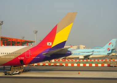 Asiana Airlines and Korean Air aircraft parked at Seoul Incheon I