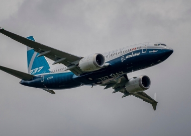 Boeing 737 MAX flying over Fanrborough Air Show in the United Kin